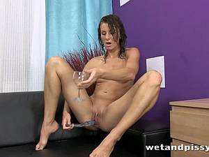 Brunette with small boobies pees when masturbating