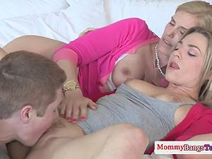 Teen beauty learns a lesson when fucking with hot MILF